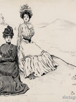 """Винтажный Ретро Постер """"Девушки в живописных горах"""" США 1900 для интерьера купить"""
