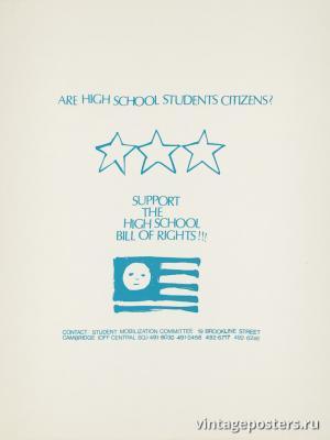 """Винтажный Ретро Постер """"Старшеклассник? Поддержи закон о высшей школе!"""" США 1970 для интерьера купить"""
