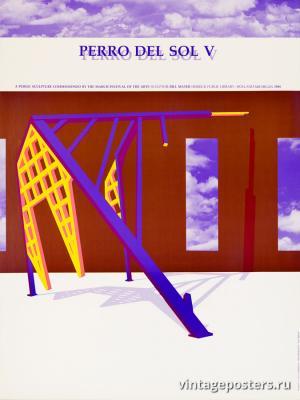 """Винтажный Ретро Постер """"Абстрактная скульптура «Солнечный пес №5»"""" США 1984 для интерьера купить"""