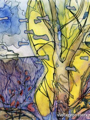 """Винтажный Ретро Постер """"Стая рыб в кронах деревьев"""" Россия 2015 для интерьера купить"""