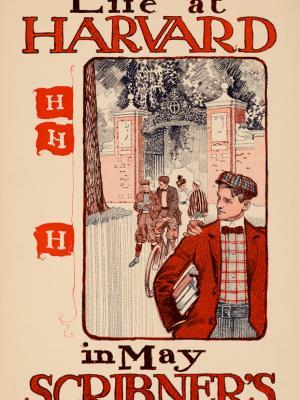 """Винтажный Ретро Постер """"Гарвардская жизнь в свежем выпуске «Scribner's»"""" США 1897 для интерьера купить"""