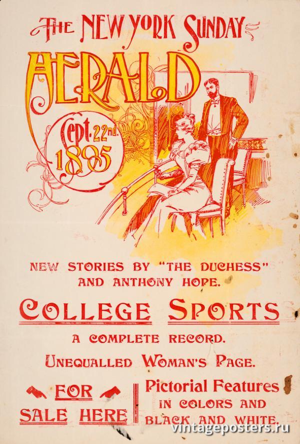 """Винтажный Ретро Постер """"Газета «The New York Sunday Herald». Выпуск к 22 Сентября"""" США 1895 для интерьера купить"""