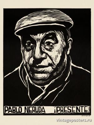 """Винтажный Ретро Постер """"Пабло Неруда"""" США 1976 для интерьера купить"""