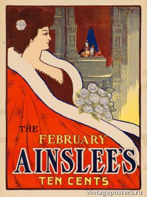 """Винтажный Ретро Постер """"Журнал «The Ainslee's». Февральский выпуск"""" США 1895 для интерьера купить"""