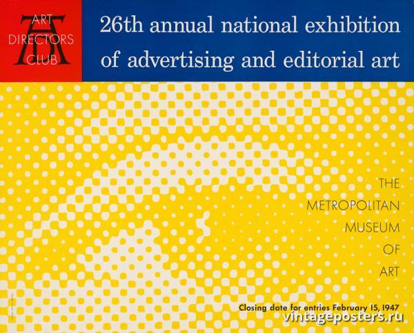 """Винтажный Ретро Постер """"26-я ежегодная национальная выставка рекламного и редакционного искусства"""" США 1947 для интерьера купить"""