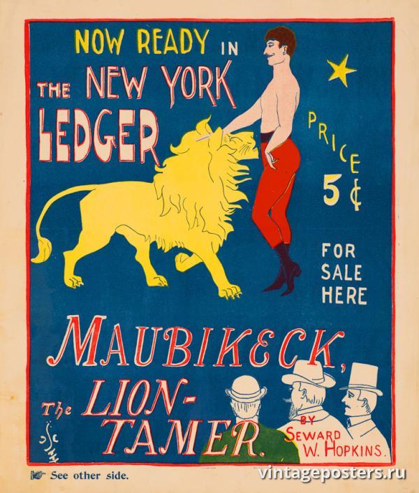 """Винтажный Ретро Постер """"«Маубикек, укротитель львов» в журнале The New York Ledger"""" США 1890 для интерьера купить"""