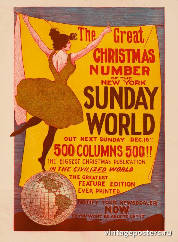 """Винтажный Ретро Постер """"Газета «The New York Sunday World». Рождественский выпуск"""" США 1895 для интерьера купить"""