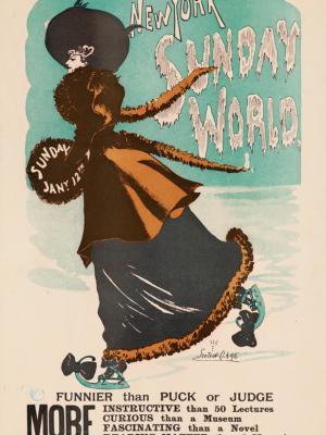 """Винтажный Ретро Постер """"Газета «The New York Sunday World». Номер от 12 января"""" США 1896 для интерьера купить"""