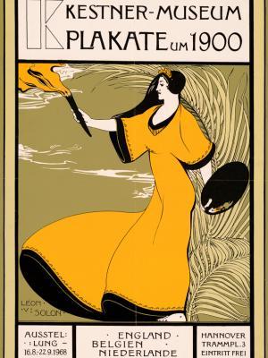 """Винтажный Ретро Постер """"Музей Августа Кестнера. Выставка «Плакаты 1900-х»"""" Германия 1968 для интерьера купить"""
