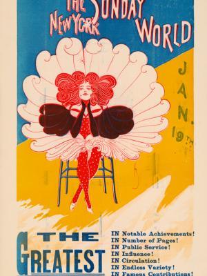 """Винтажный Ретро Постер """"Газета «The New York Sunday World». Выпуск к 19 Января"""" США 1896 для интерьера купить"""