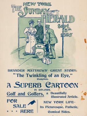 """Винтажный Ретро Постер """"Газета «The New York Sunday Herald». Выпуск к 15 сентября"""" США 1895 для интерьера купить"""