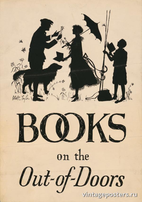 """Винтажный Ретро Постер """"Книги на открытом воздухе"""" США 1920 для интерьера купить"""
