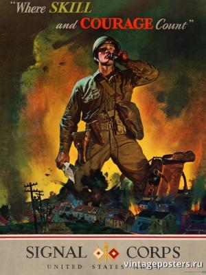 """Винтажный Ретро Постер """"Там где умение и смелость имеют значение. Корпус связи, армия США"""" США 1942 для интерьера купить"""