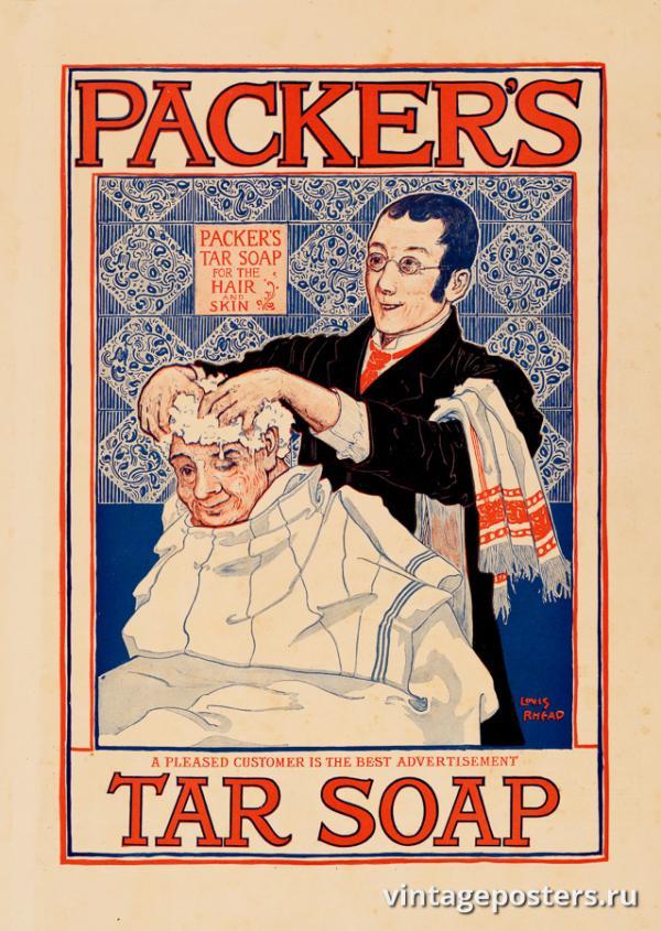 """Винтажный Ретро Постер """"Дегтярное мыло от Пекера"""" США 1910 для интерьера купить"""