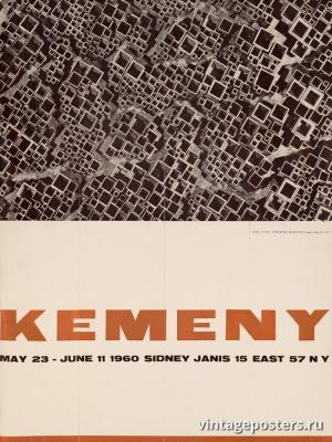 """Винтажный Ретро Постер """"Выставка скульптур Золтан Кемени в галерее Сидни Яниса"""" США 1960 для интерьера купить"""