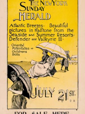 """Винтажный Ретро Постер """"Газета «The New York Sunday Herald». Выпуск к 21 Июля"""" США 1895 для интерьера купить"""