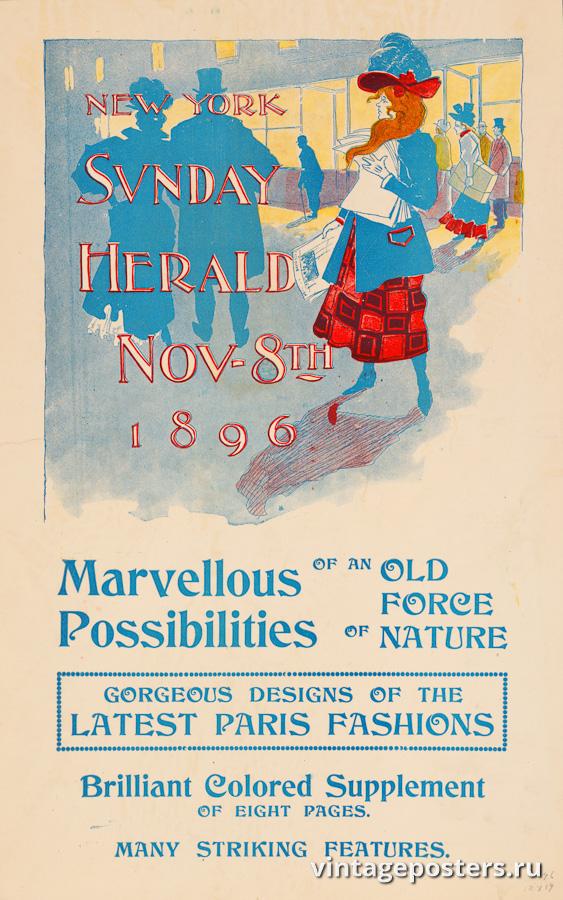 """Винтажный Ретро Постер """"Газета «The New York Sunday Herald». Выпуск к 8 Ноября"""" США 1896 для интерьера купить"""