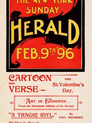 """Винтажный Ретро Постер """"Газета «The New York Sunday Herald». Выпуск к 9 Февраля"""" США 1896 для интерьера купить"""