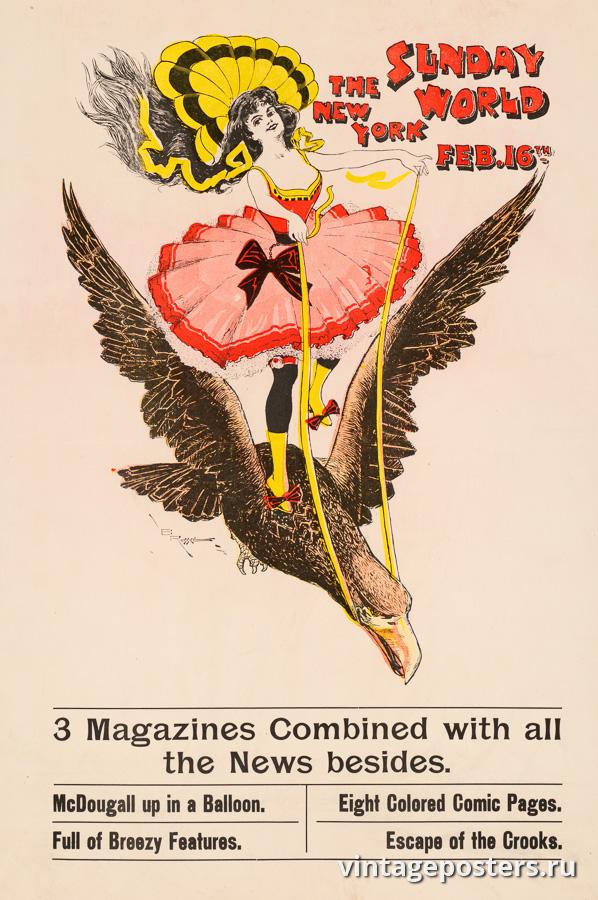 """Винтажный Ретро Постер """"Газета «The New York Sunday World». Выпуск к 16 февраля"""" США 1896 для интерьера купить"""