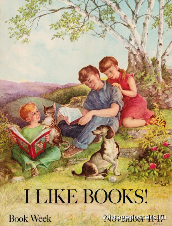 """Винтажный Ретро Постер """"«Я люблю книги!» Книжная неделя"""" США 1962 для интерьера купить"""