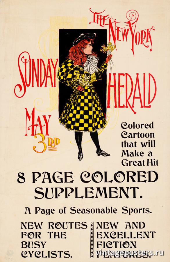 """Винтажный Ретро Постер """"Газета «The New York Sunday Herald». Выпуск к 3 Мая"""" США 1890 для интерьера купить"""