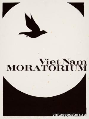 """Винтажный Ретро Постер """"Вьетнамский мораторий"""" США 1970 для интерьера купить"""