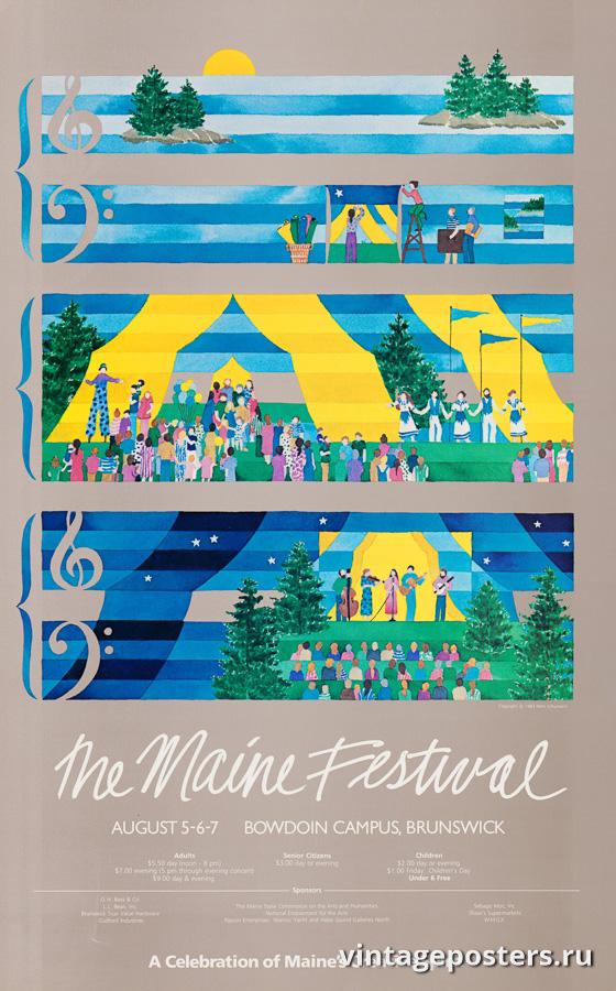 """Винтажный Ретро Постер """"Фестиваль в штате Мэн"""" США 1983 для интерьера купить"""