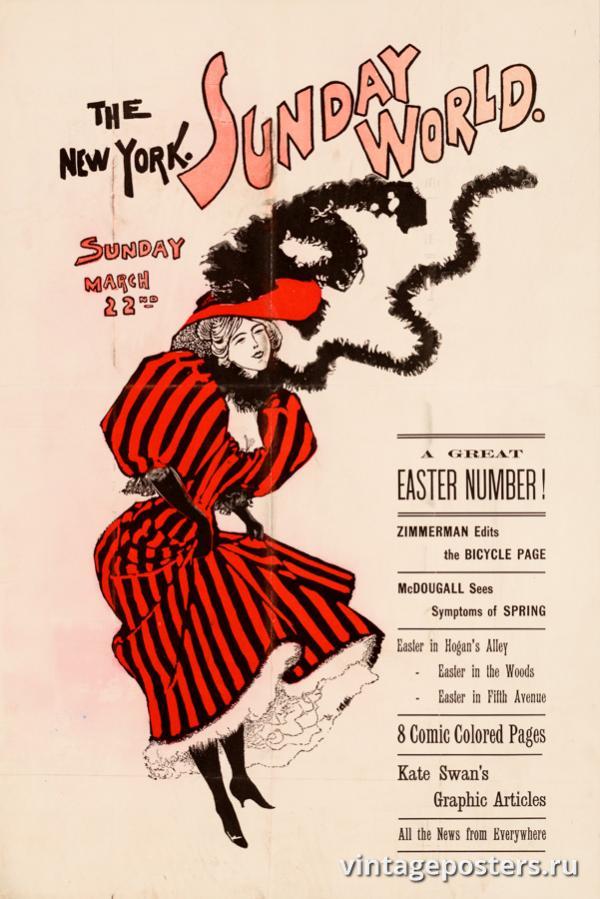 """Винтажный Ретро Постер """"Газета «The New York Sunday World». Выпуск к 22 Марта"""" США 1896 для интерьера купить"""