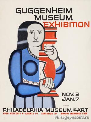 """Винтажный Ретро Постер """"Выставка в музее Гугенхайма. Филадельфийский музей искусств."""" США 1961 для интерьера купить"""