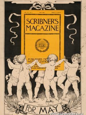 """Винтажный Ретро Постер """"Журнал «Scribner's». Майский номер"""" США 1894 для интерьера купить"""