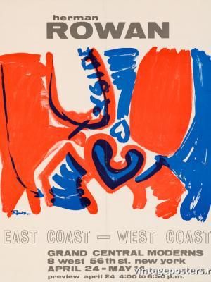 """Винтажный Ретро Постер """"Выставка художника Германа Роуэна """"Восточное побережье - западное побережье"""""""" США 1965 для интерьера купить"""