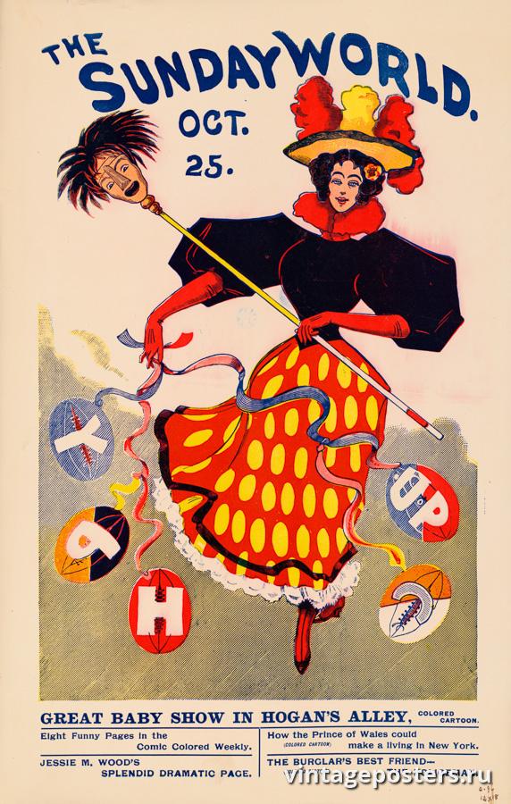 """Винтажный Ретро Постер """"Газета «The Sunday World». Выпуск к 25 Октября"""" США 1896 для интерьера купить"""