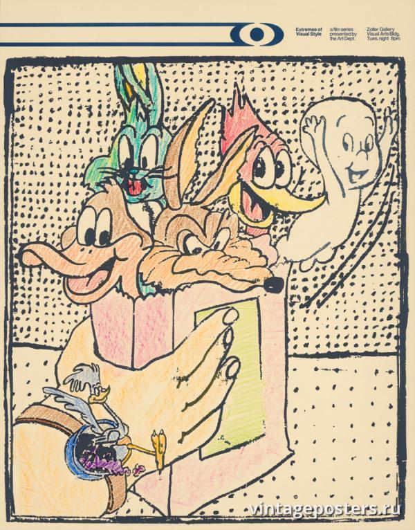 """Винтажный Ретро Постер """"«Крайности визуального стиля» в галерее Золлера"""" США 1970 для интерьера купить"""