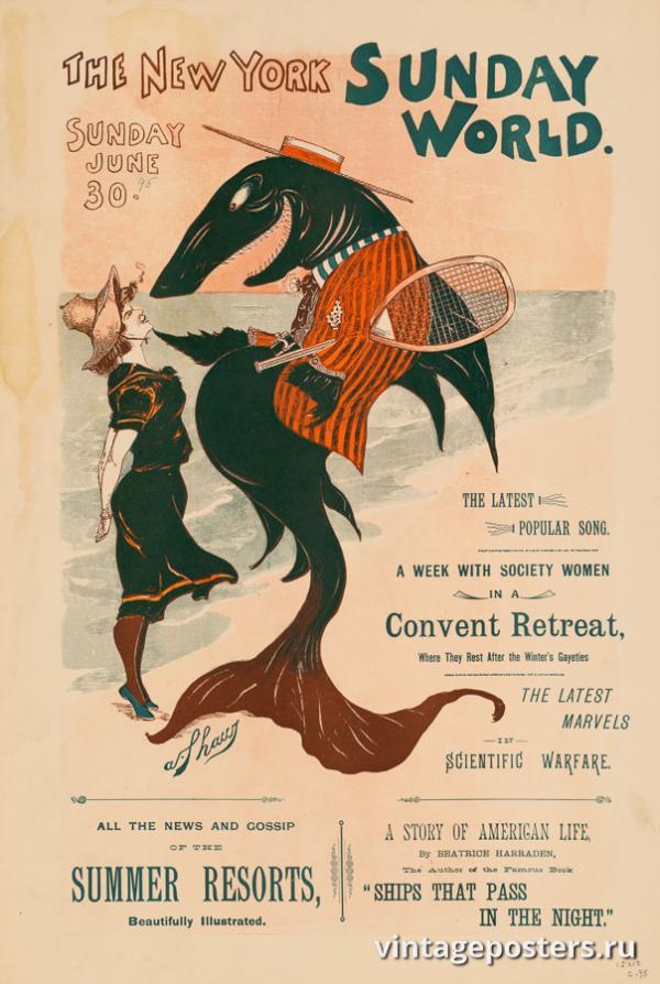"""Винтажный Ретро Постер """"Газета «The New York Sunday World». Выпуск к 30 Июня"""" США 1895 для интерьера купить"""