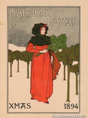 """Винтажный Ретро Постер """"Harper's Bazar - рождественский номер"""" США 1894 для интерьера купить"""