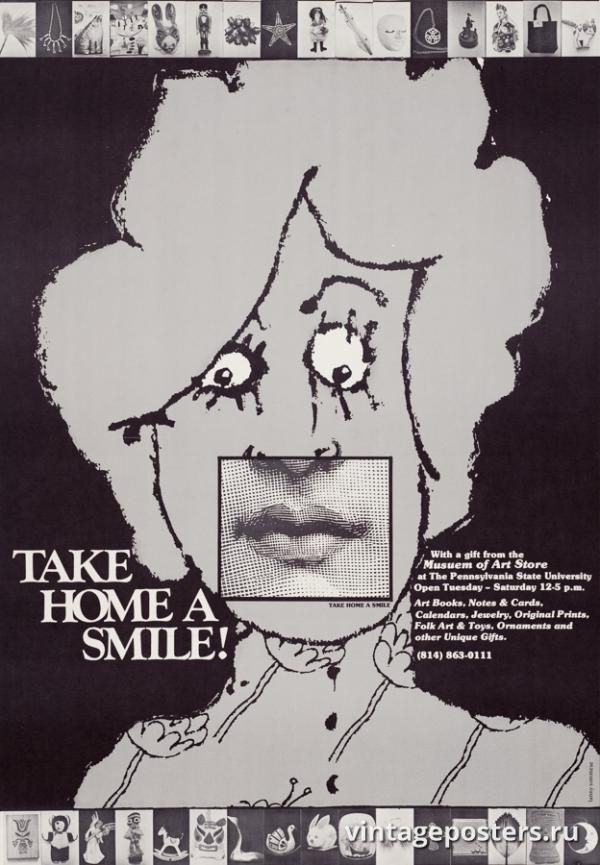 """Винтажный Ретро Постер """"Выставка-продажа «Возьми домой улыбку!»"""" США 1979 для интерьера купить"""