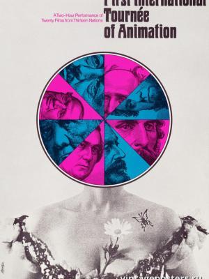"""Винтажный Ретро Постер """"Первые международные анимационные гастроли"""" США 1970 для интерьера купить"""