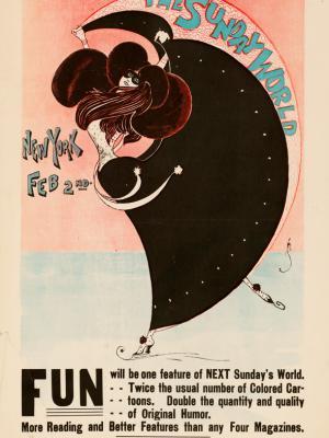 """Винтажный Ретро Постер """"Газета «The New York Sunday World». Выпуск к 2 Фераля"""" США 1896 для интерьера купить"""