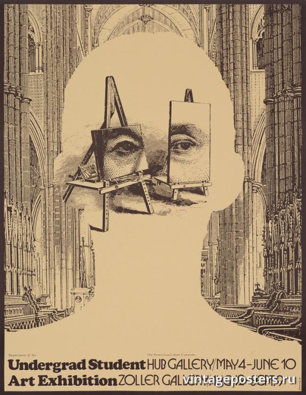 """Винтажный Ретро Постер """"Художественная выставка студентов Университета Пенсильвании"""" США 1979 для интерьера купить"""