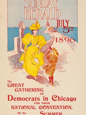 """Винтажный Ретро Постер """"Газета «The New York Sunday Herald». Выпуск к 5 июля"""" США 1896 для интерьера купить"""