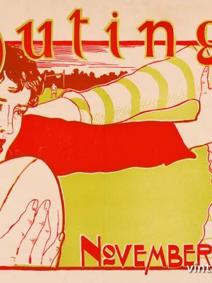 """Винтажный Ретро Постер """"Журнал «Outing». Ноябрьский выпуск"""" США 1896 для интерьера купить"""