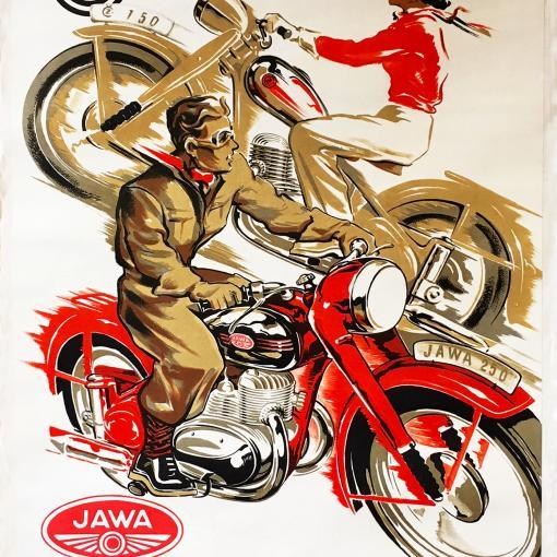 Изображены классические модели ČZ 150 и JAWA 250 в захватывающей и динамичной композиции рядом с их логотипами.