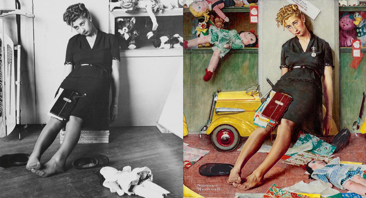Модель и картина Нормана Роквелла «Утомленная продавщица в канун Рождества», 1947
