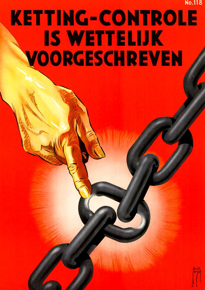 """""""Контроль цепи - это требование закона"""", Нидерланды, 1940 год"""