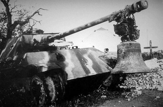 """Подбитая """"Пантера"""" в Омен, Бельгия, 1944 год"""