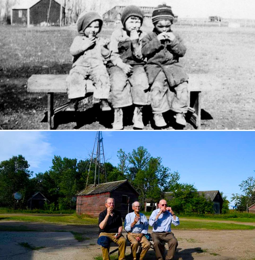 Три брата. Разница между фотографиями 90 лет