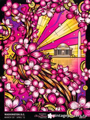 """Купить для интерьера на стену Постер """"Национальный фестиваль цветения сакуры"""" США 2020"""