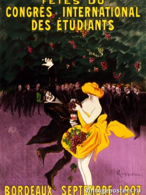 """Купить для интерьера на стену Постер """"Танцы на международном студенческом конгрессе в Бордо"""" Франция 1907"""