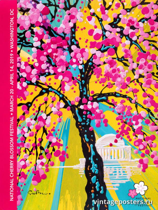 """Купить для интерьера на стену Постер """"Национальный фестиваль цветения сакуры"""" США 2019"""