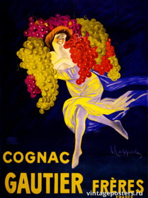 """Купить для интерьера на стену Постер """"Коньяк Готье"""" Франция 1910"""
